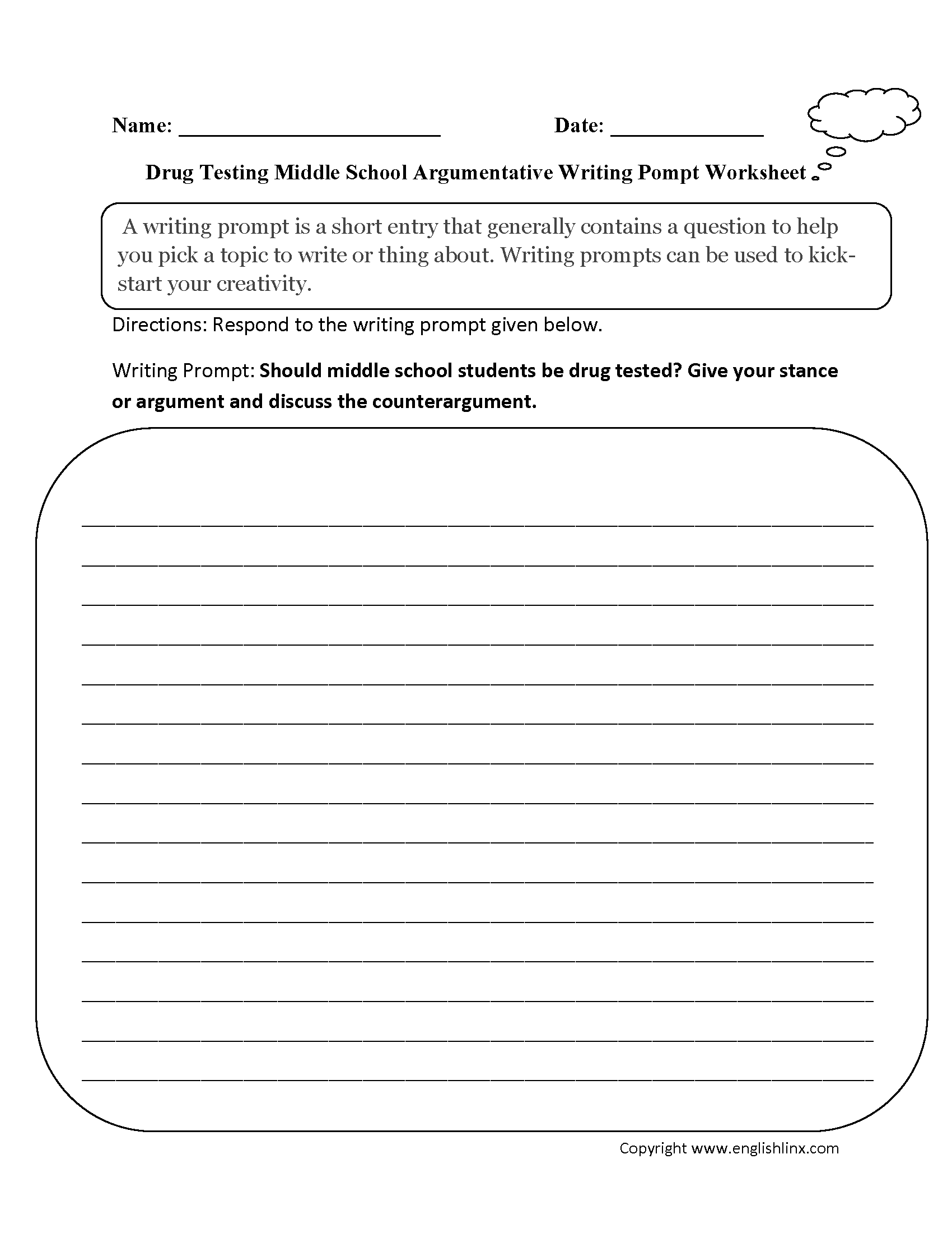 Drug Testing Argumentative Writing Prompts Worksheets