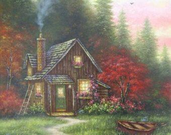 Forest Cabin järven alkuperäisen Öljyvärimaalaus 15X30 metsä, maisema, syksy, punainen, oranssi, vihreä, soutuvene seinälle, Vickie Wade Art