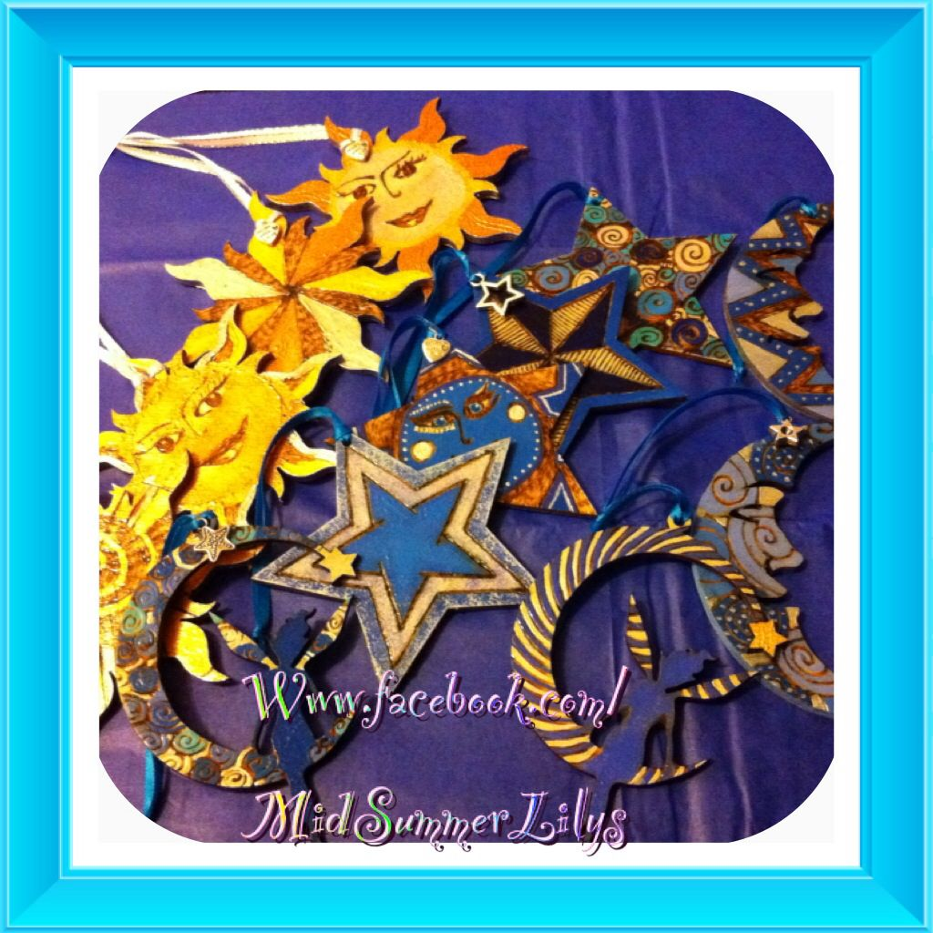 Wooden Celestial Moon Sun and Stars Christmas Tree Decorations made by MidSummerLilys