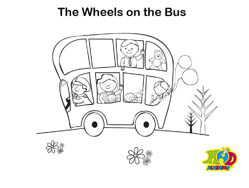 Nursery Rhymes Color Pages : Wheels On The Bus