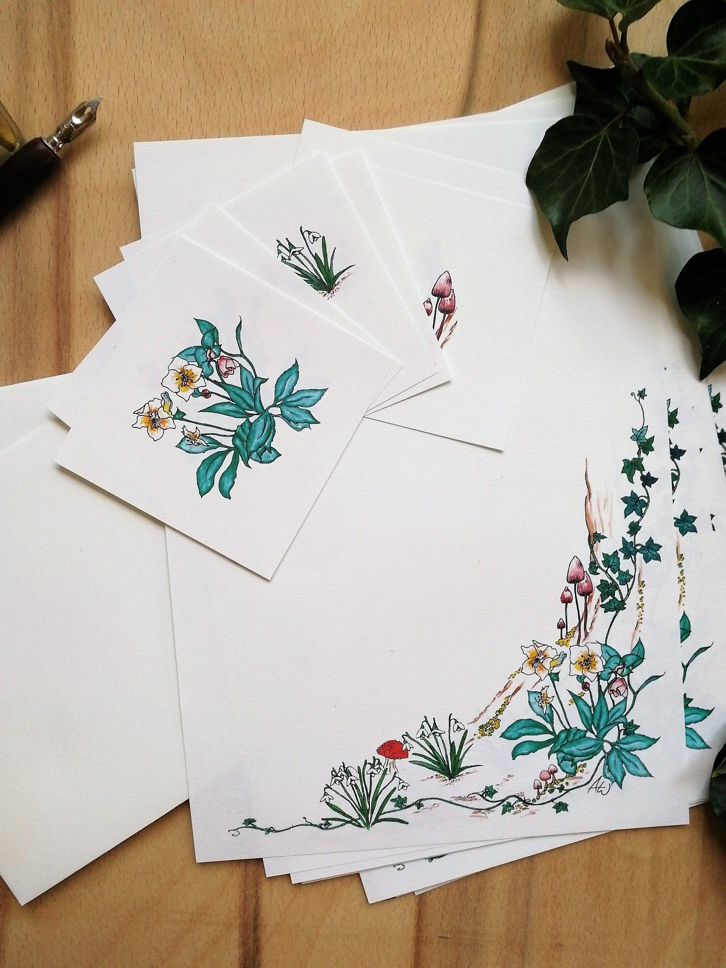 Stationery Set Forest Letter Writing Set Winter Woodland Early