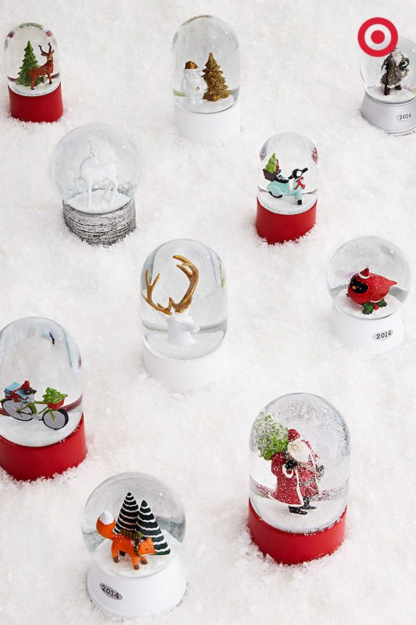 'Tis the season of musical snow globes—totally crushing on these wintery wonders. Spread them around your home for some Christmas whimsy. Wind 'em up, shake 'em up, and let it snow, snow, snow.
