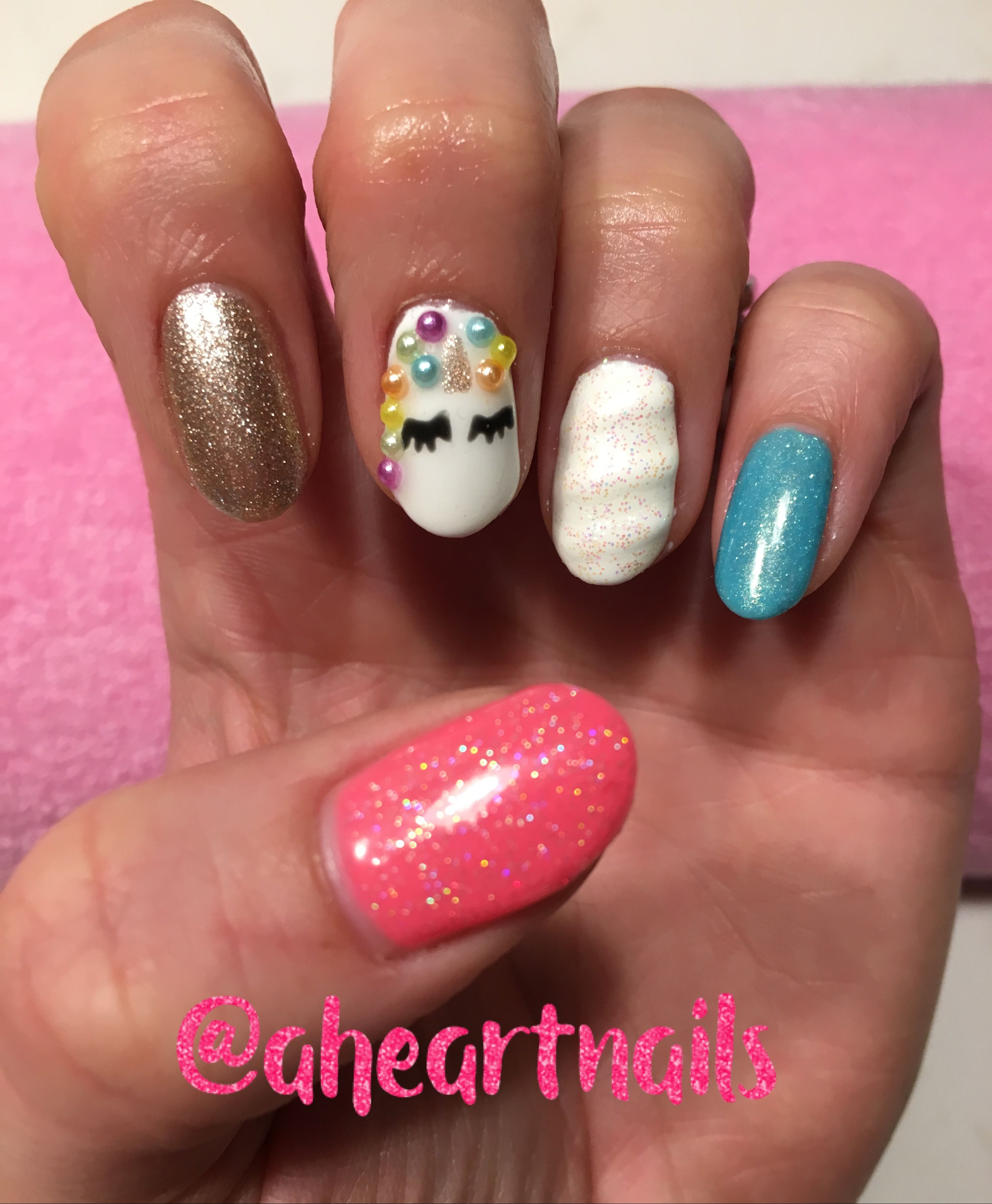 26 Impossible Japanese Nail Art Designs: Unicorn Nails With 3D Unicorn Horn Using Gelish By