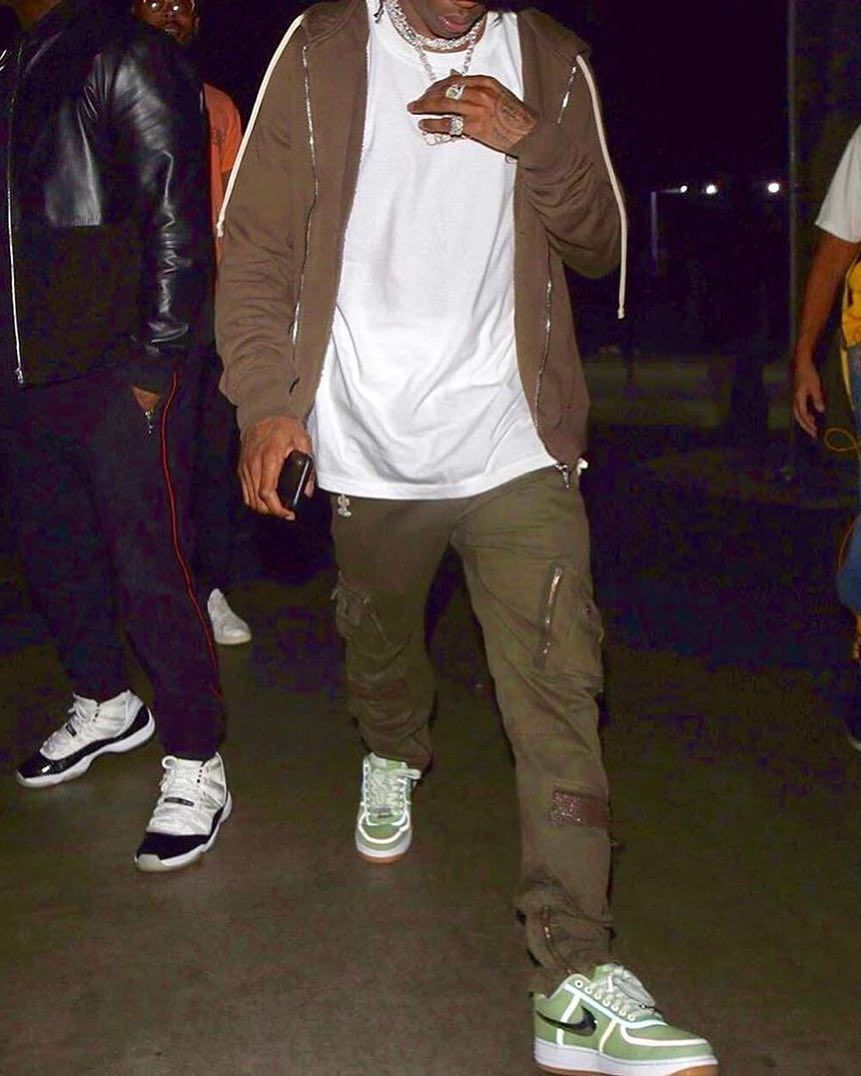 New sneakers on the way   travisscott was seen wearing a green colorway of  his  nike Air Force 1 sneaker - would you cop   sneakersmag  travisscott   nike ... 5e0ebcf6d