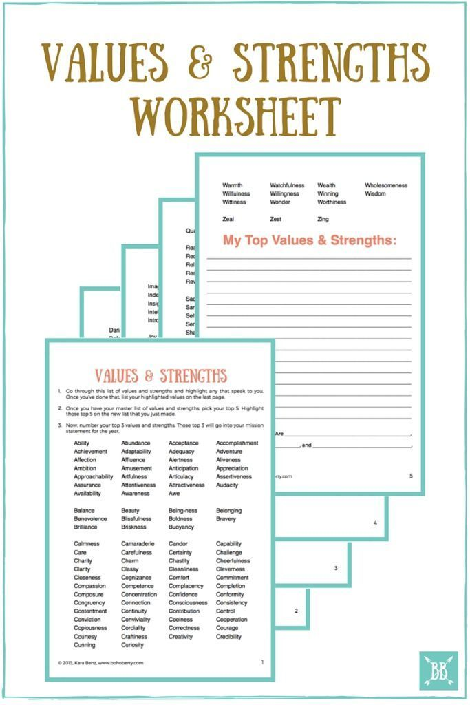 Crafting Your Personal Mission Statement for 2016 Worksheets - business statement template