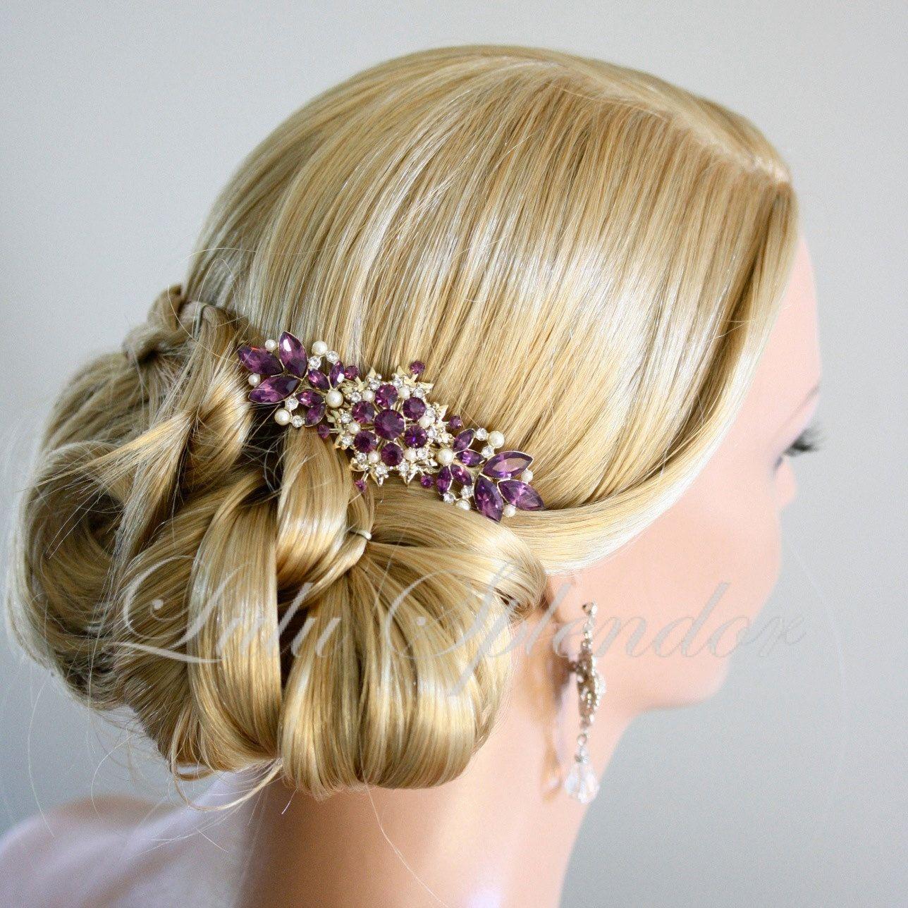 vintage bridal comb amethyst wedding hair comb purple