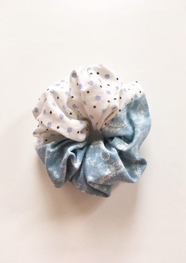 Paisley and flower print hair scrunchie, Hair Accessory, Hair tie, One of a kind, Ponytail holder, Bun wrap, Gift