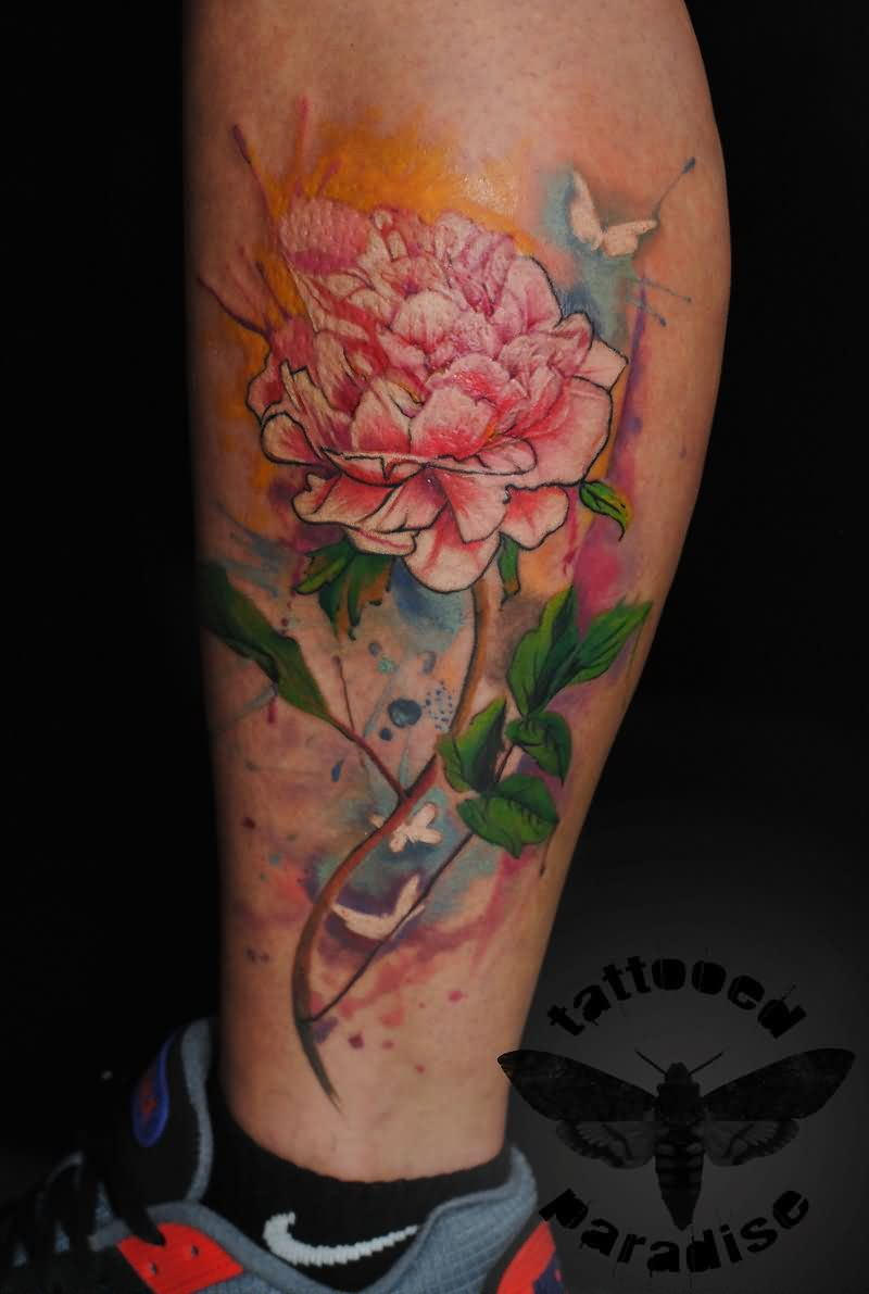 Peony Watercolor Flower Tattoos: Watercolor Peony Flower Tattoo On Leg