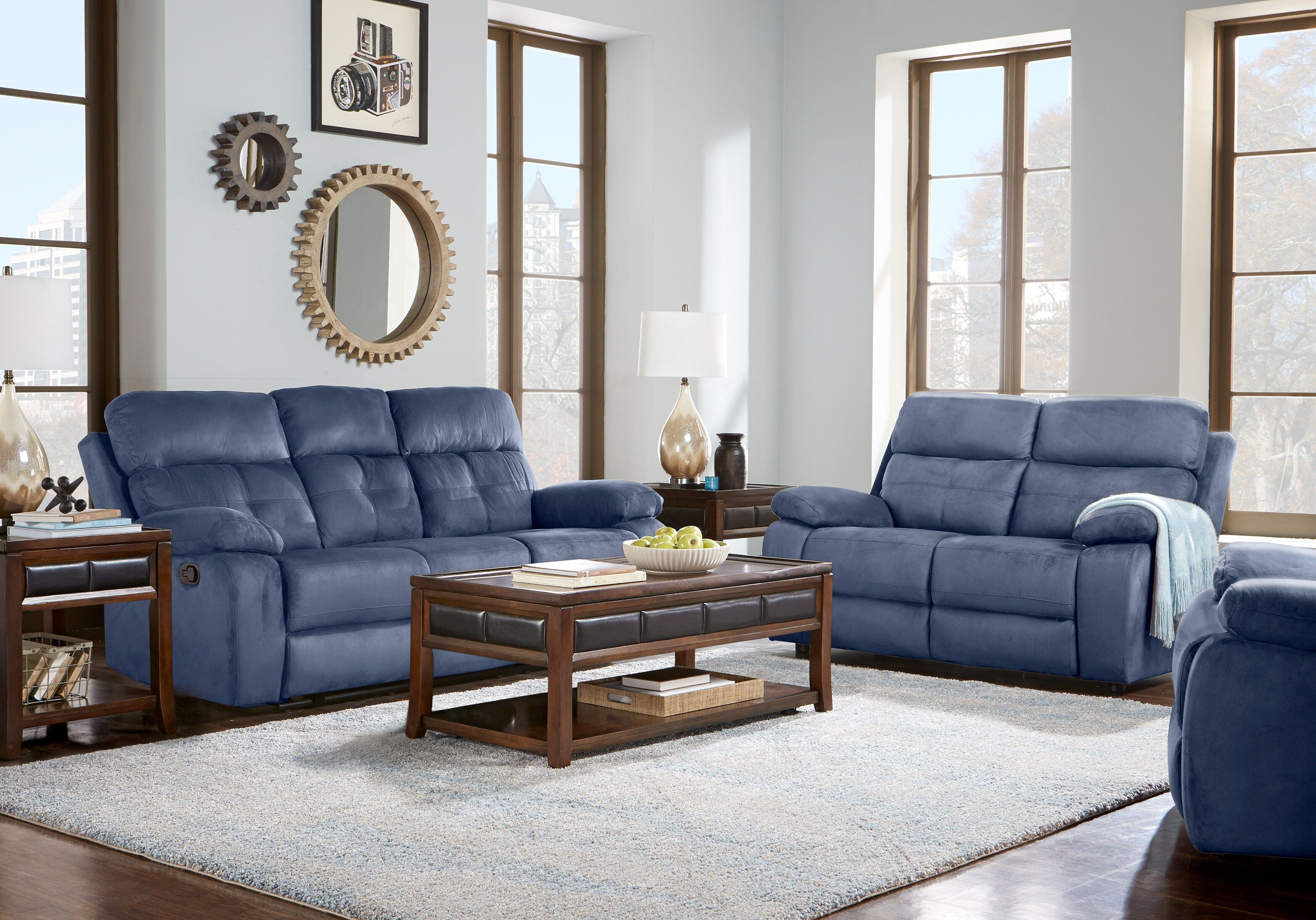 Best Corinne Blue 3 Pc Living Room With Reclining Sofa In 2019 400 x 300
