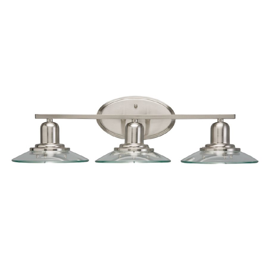 Bathroom Lights Galway shop allen + roth 3-light galileo brushed nickel bathroom vanity