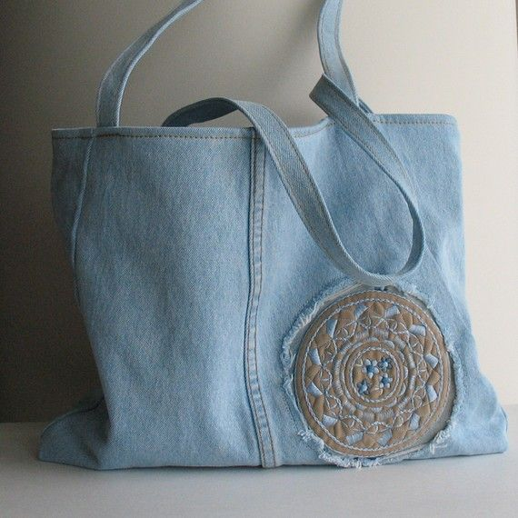 Recycled jeans tote bag upcycled denim handbag by mehran for Jeans upcycling ideas