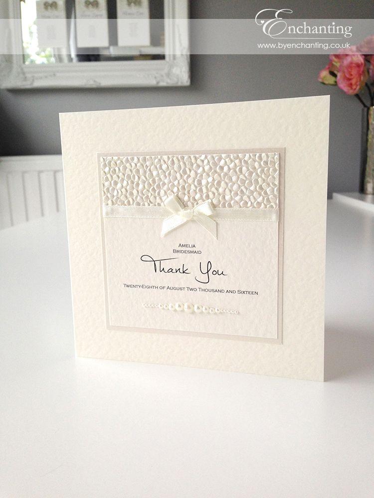 Ivory Wedding Stationery | Bespoke Design - Thank You Card ...