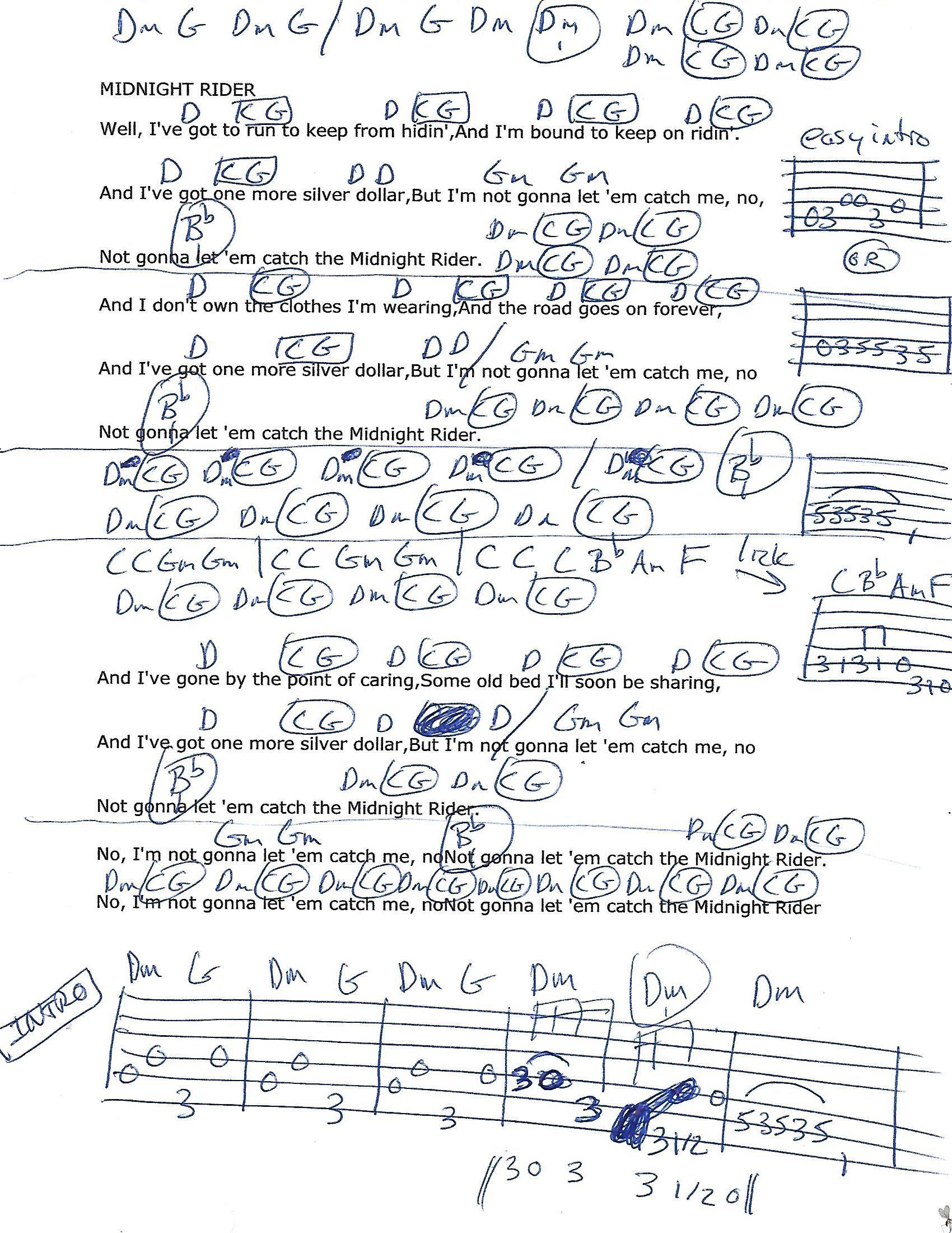Midnight Rider Allman Brothers Album Recording Guitar Chord ...