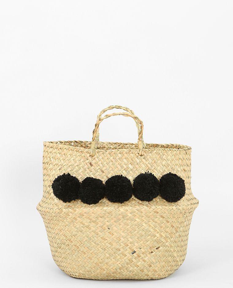 ba99c05748 Panier tressé à pompons noir en osier rotin paille laine noir #décoration  #fauteuil #