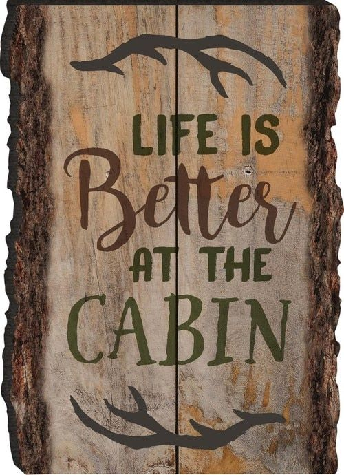 Photo of Life Is Better At The Cabin Antlers Rustic Bark Look Wood Sign Magnet