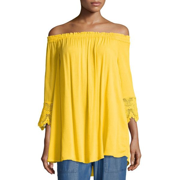 Chelsea & Theodore 3/4-Sleeve Off-the-Shoulder Top ($39) ❤ liked on Polyvore featuring tops, yellow, lace trim top, loose off the shoulder tops, yellow off the shoulder top, 3/4 length sleeve tops and loose fit tops