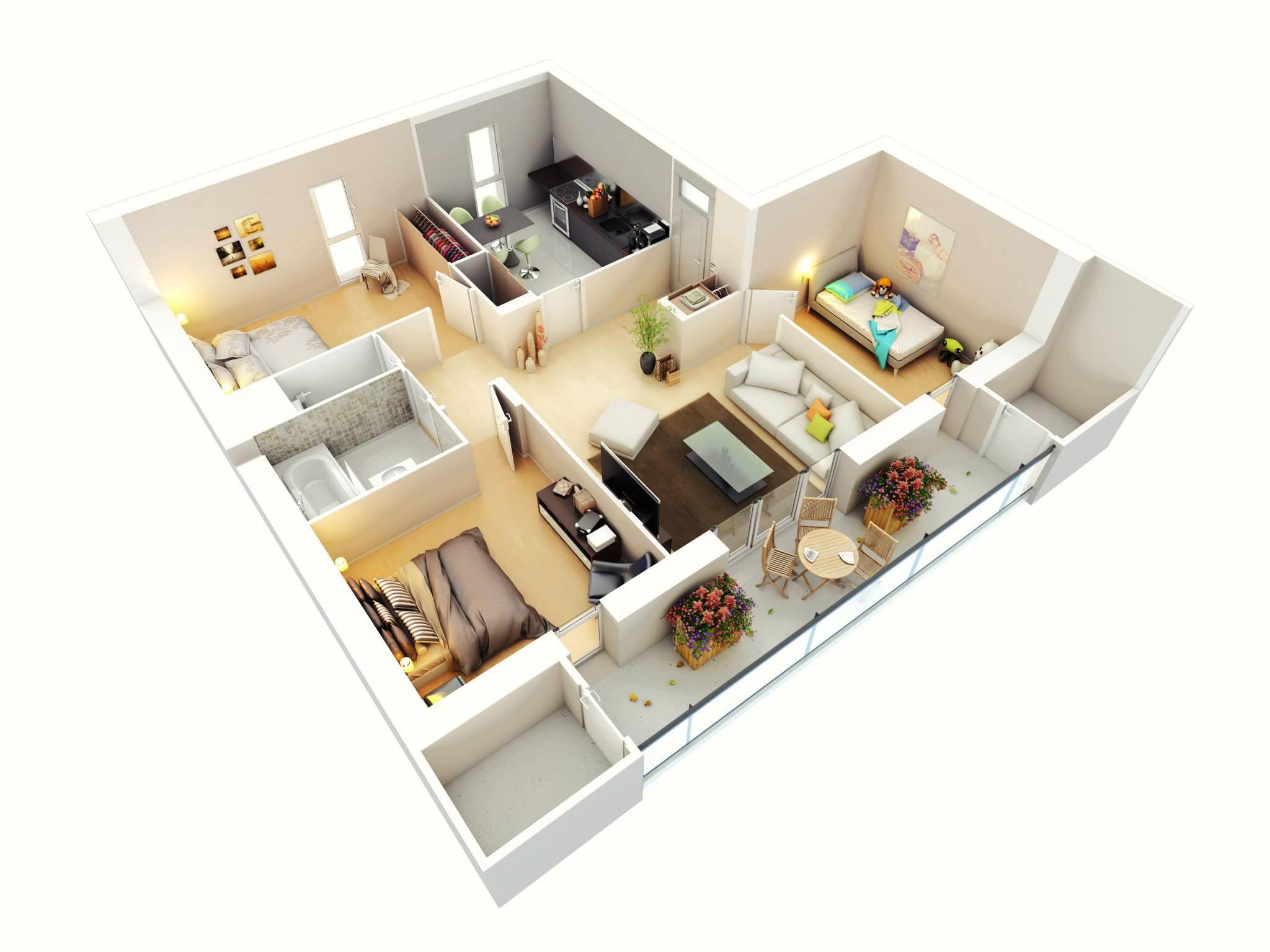 3d 3 bedroom house plans - Modern Bungalow Floor Plan 3d Small 3 Bedroom Floor Plans House Design Pinterest Bungalow Floor Plans Bungalows And Modern Bungalow