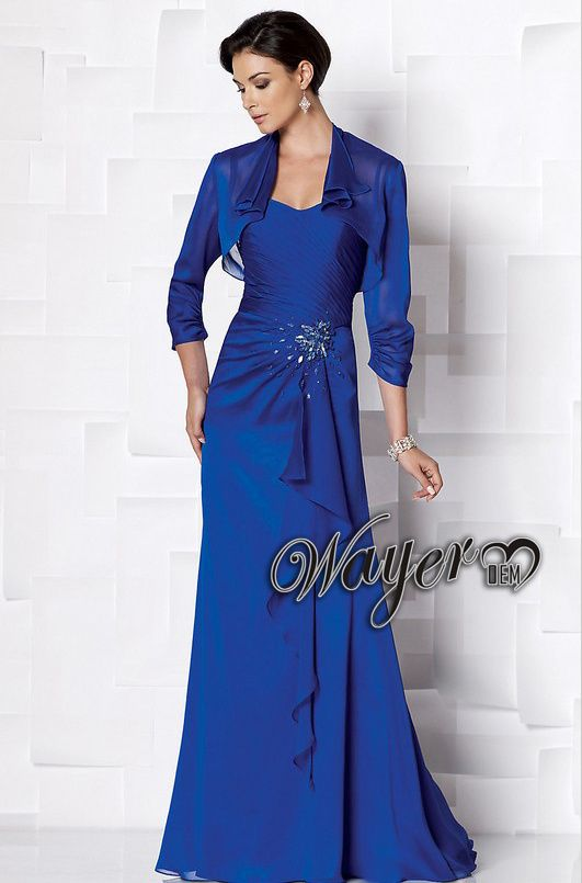 HL-MB0252 New Arrival Elegant Royal Blue Beaded Mother of the Bride Dresses  with 3 4 sleeves Jacket Bolero Plus Size Custom Made 07c6d881b198