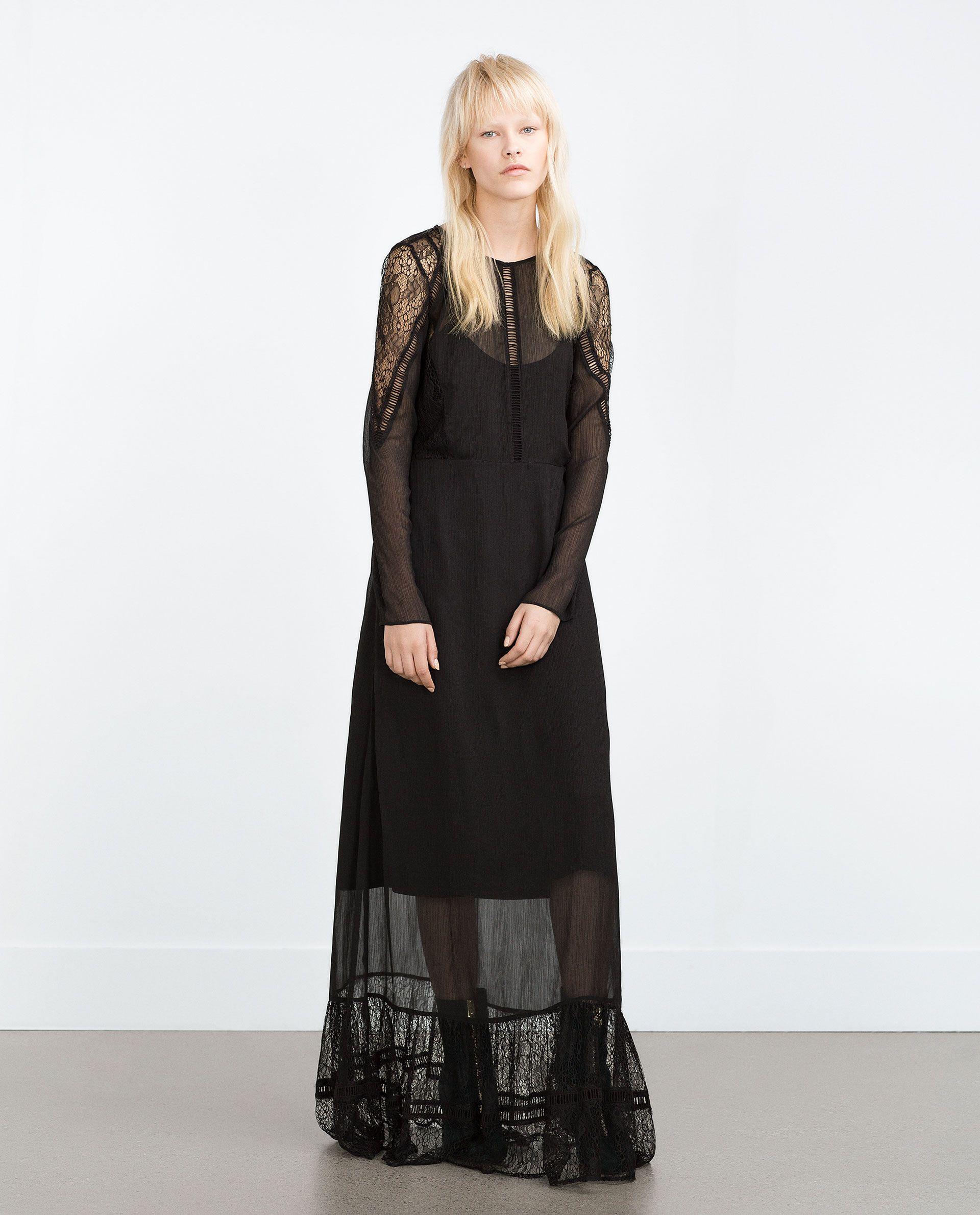 Long Lace Dress Dresses Trf Sheer Slip Dress Lace Dress Long Dresses