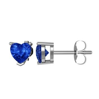 Angara Blue Sapphire Solitaire Heart Earrings d6aRB