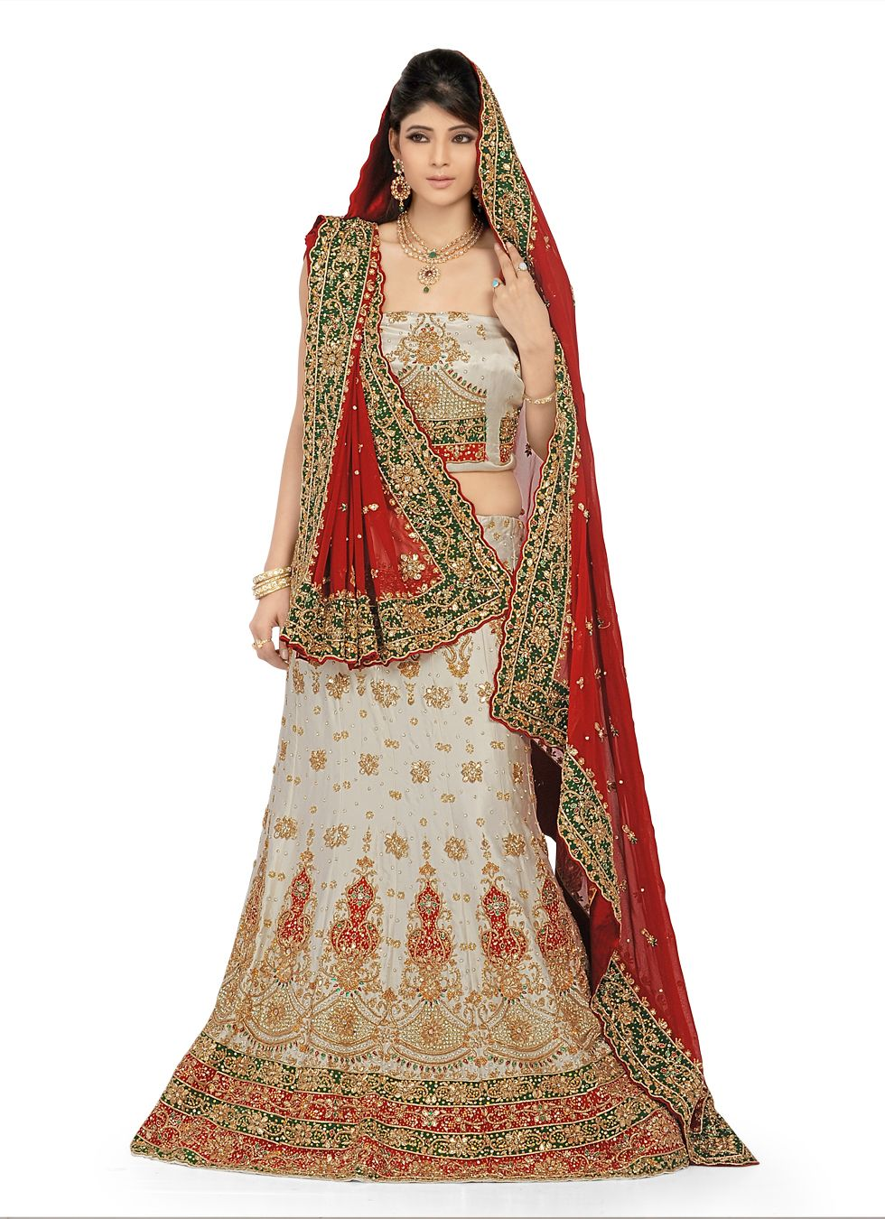 Indian bridal dresses in red and white striped