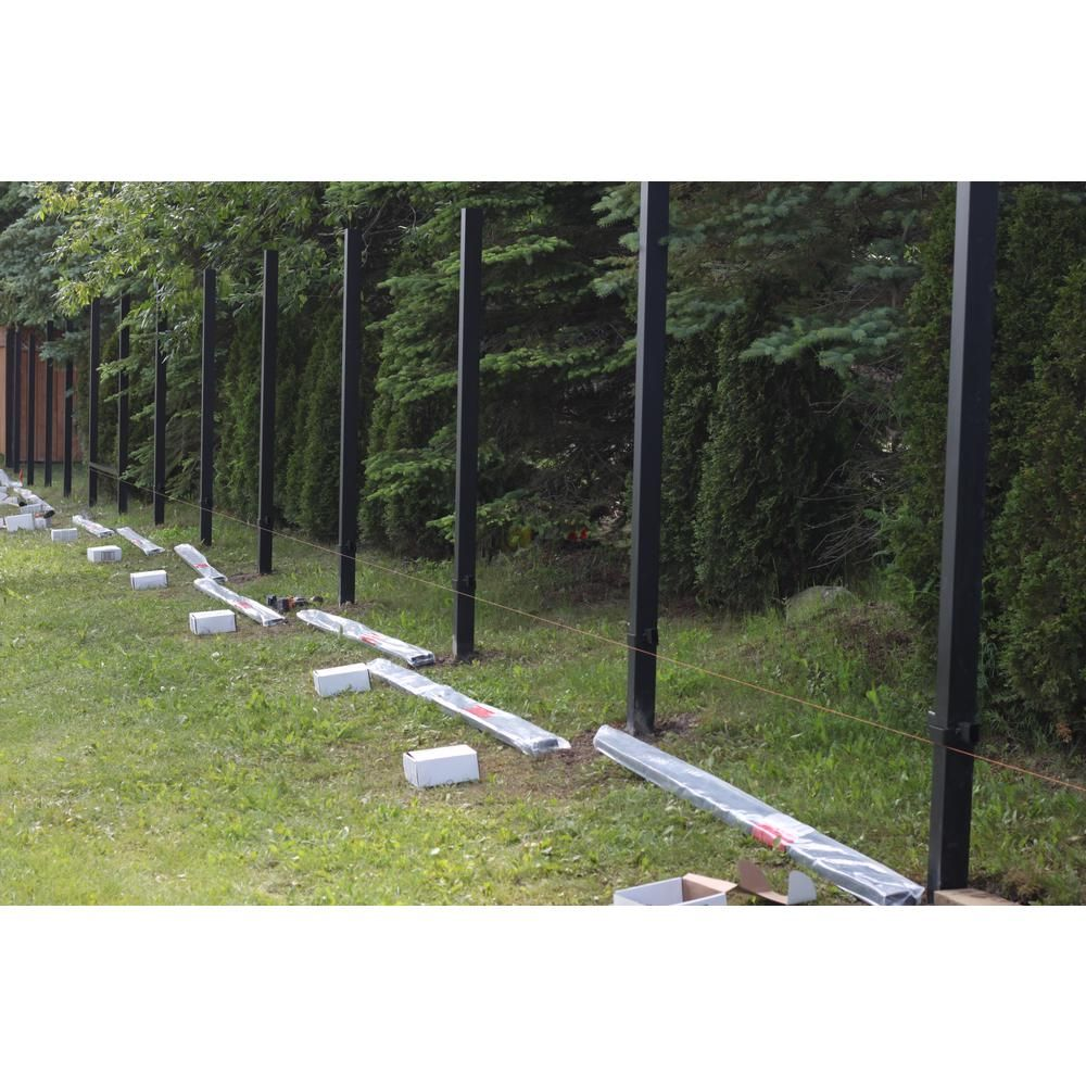 Slipfence 3 In X 3 In X 10 Ft 4 In Black Powder Coated Aluminum Fence Post Includes Post Cap Sf2 Pk310 T In 2020 Aluminum Fence Fence Post Backyard Landscaping