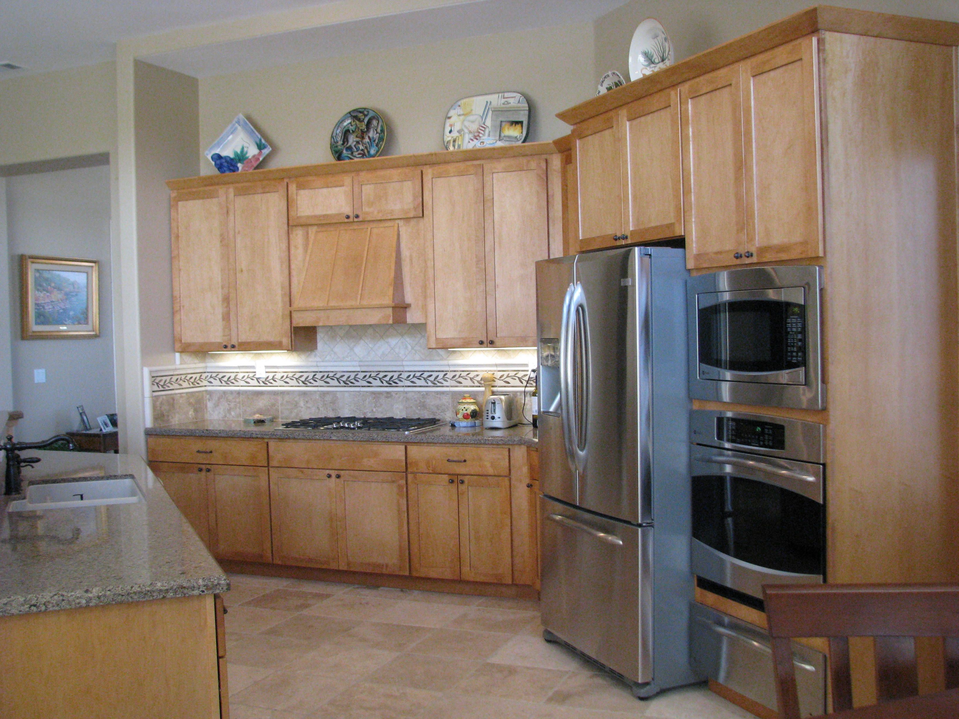 Maple cabinetry, travertine floors and backsplash, Quartz ... on Countertops That Go With Maple Cabinets  id=25219