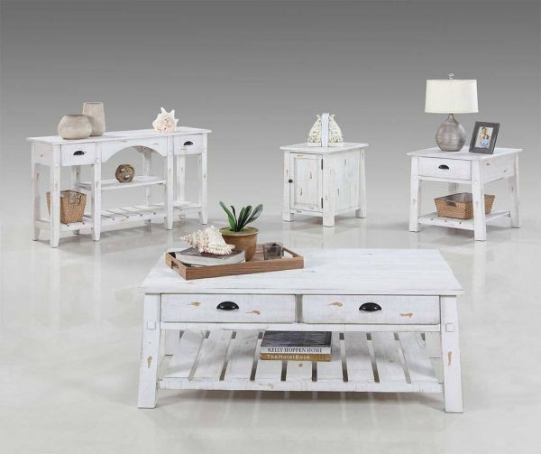 Willow Rustic Distressed White Solidwood 3pc Coffee Table Set