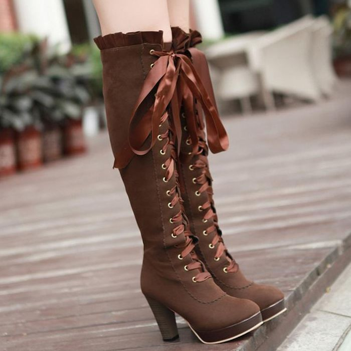 Women's Fashion Sweet Bows Platform High Chunky Heel Lace up Ankle Boots