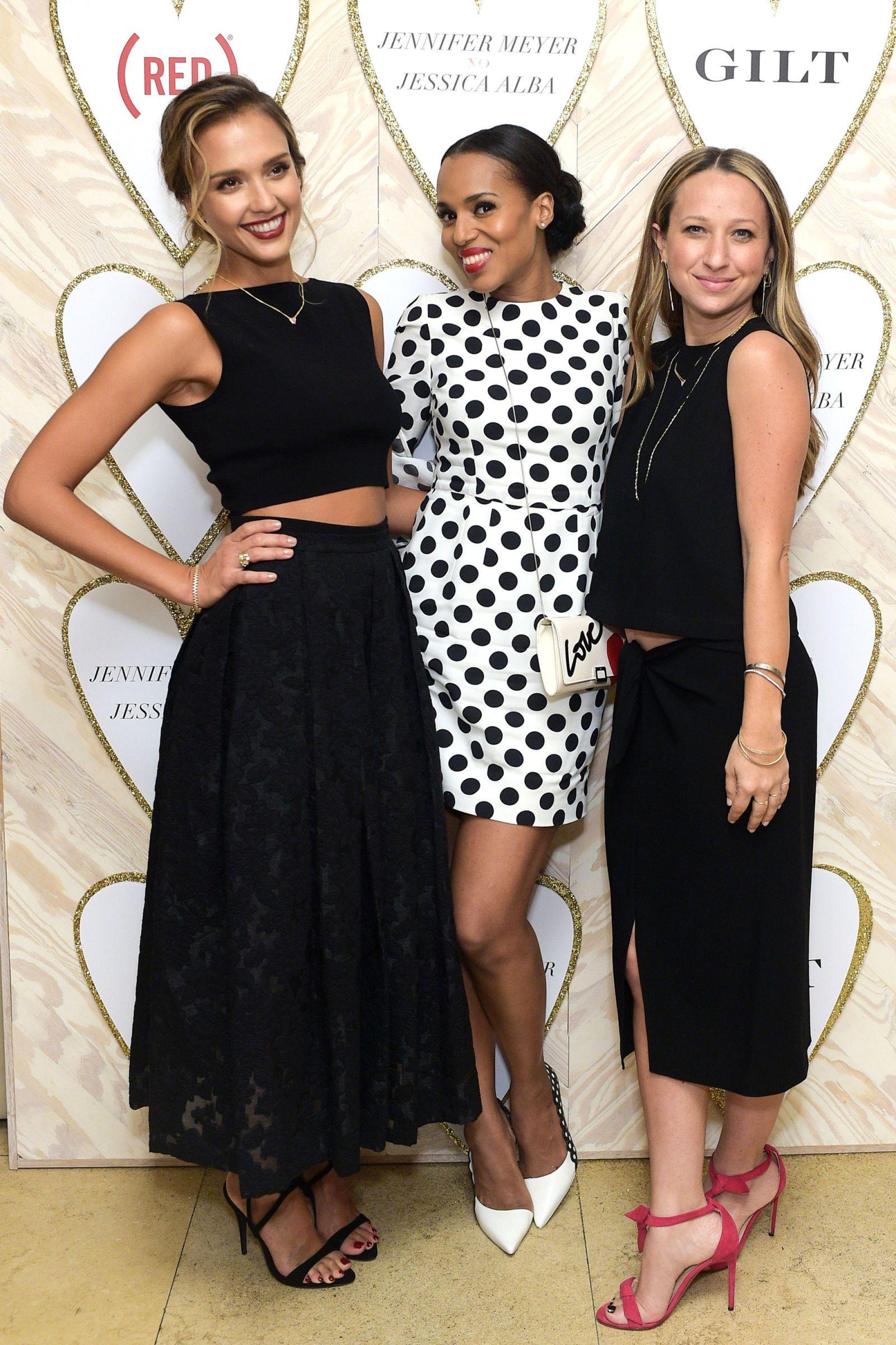 Jennifer Meyer And Jessica Alba Fte Their New Jewelry Collab Jolie Clothing Neil Polka Midi Dress