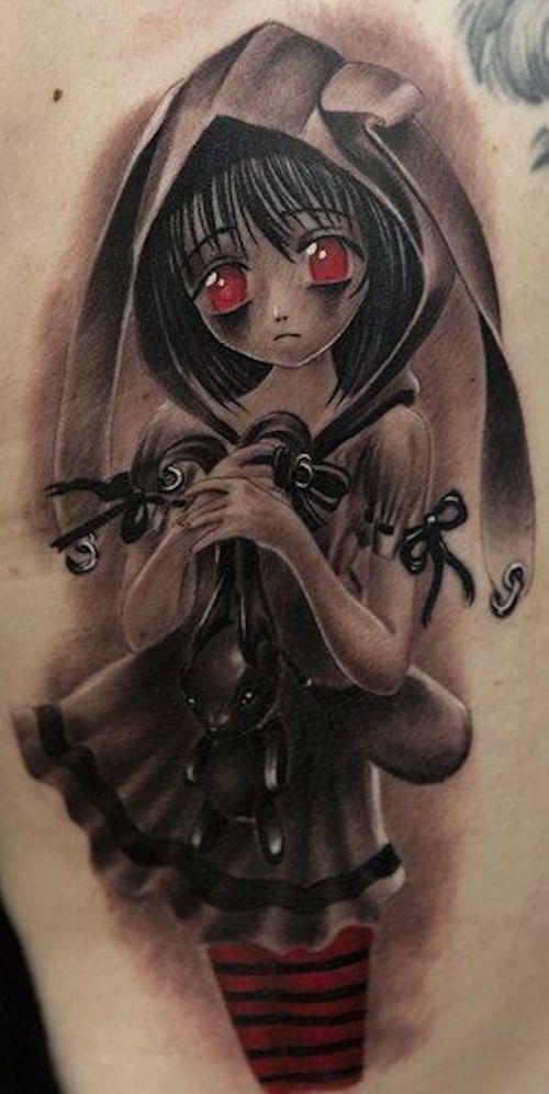 New School Tattoos Are Brilliant Art Anime Tattoos Girl Tattoos Black And Grey Tattoos