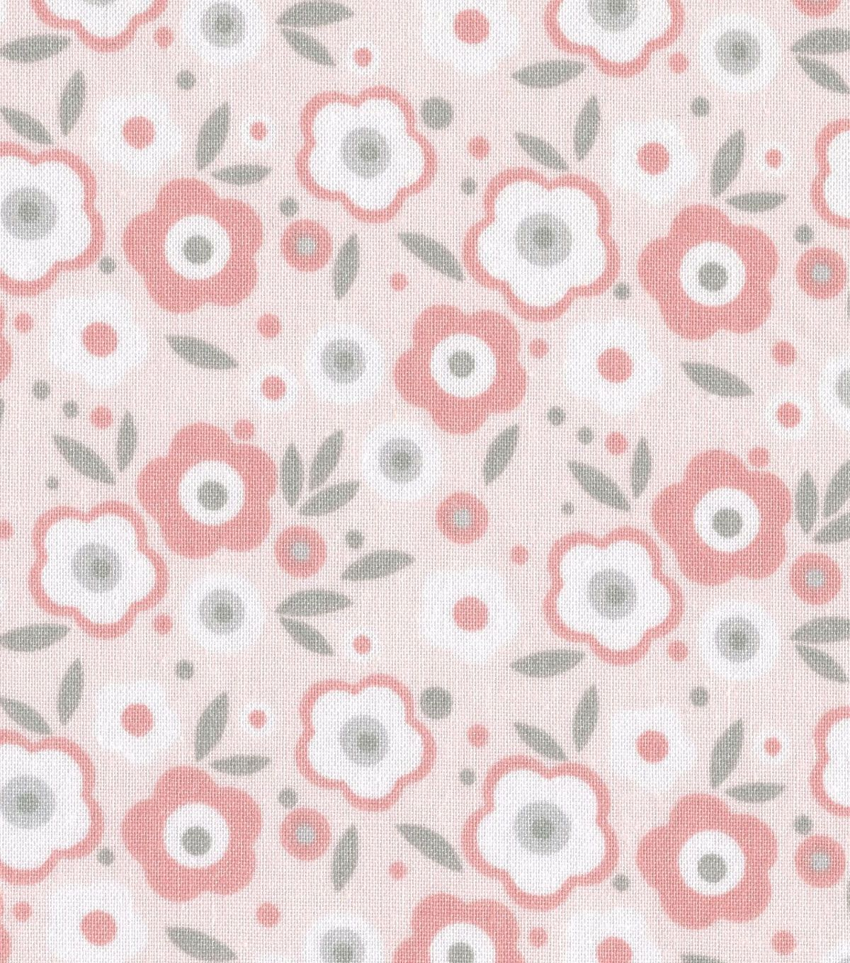 Nursery Fabric Baby Basic Floral Pink & Gray & White | Sew sew sew ...