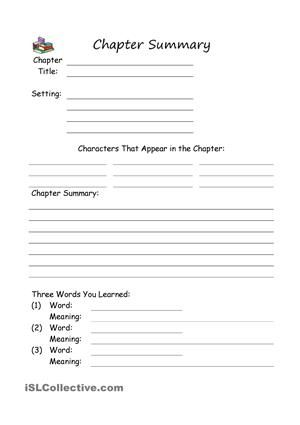 Chapter Summary  Education    Worksheets Printable
