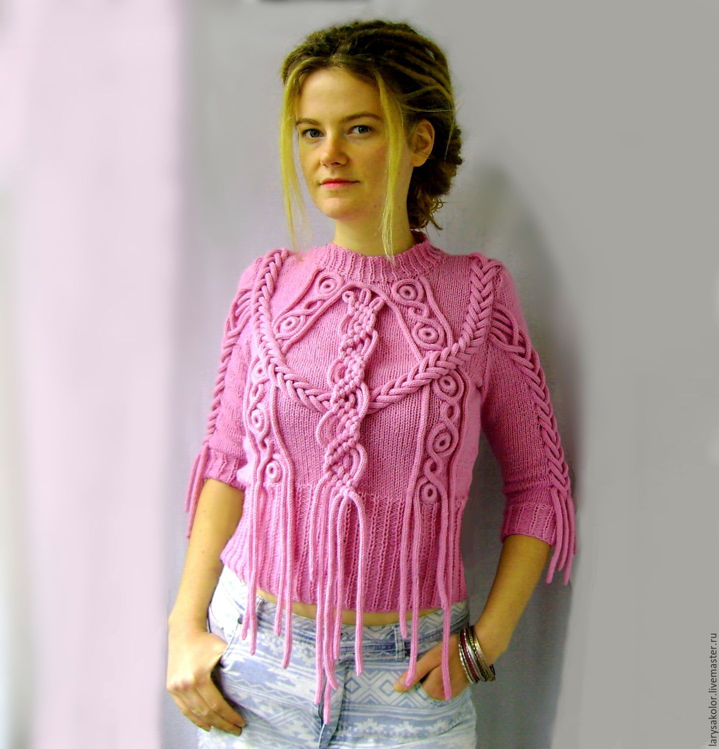 "Sweater ""My Girl"" - pink, sweater, sweatshirt, pullover, knitting, knitwear, knitting to order"