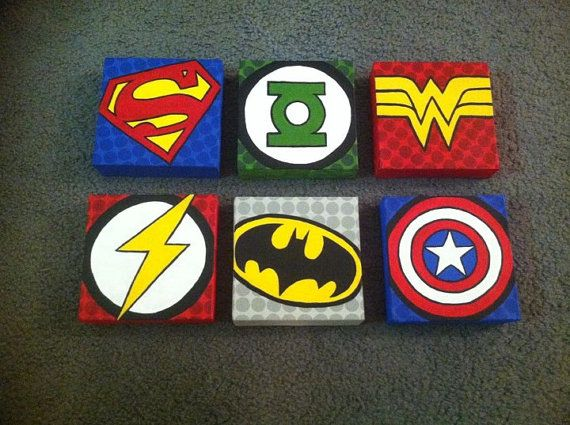 Hand Painted Superhero Canvas 2300 Via Etsy