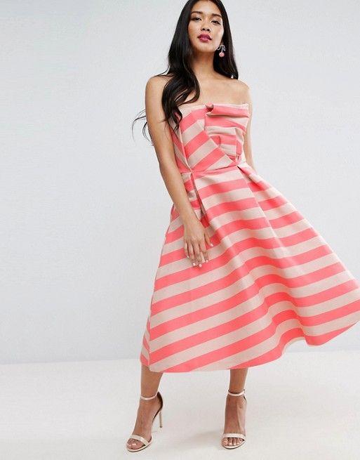 Stripe Bandeau Prom Midi Dress   Vestidos de graduación, Rayas y ...