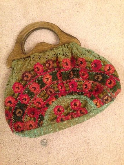 Hand Made Embroidered Purse Knitting Bag Wooden Handles Bohiemian Knitted Bags Embroidery Purse Knitting