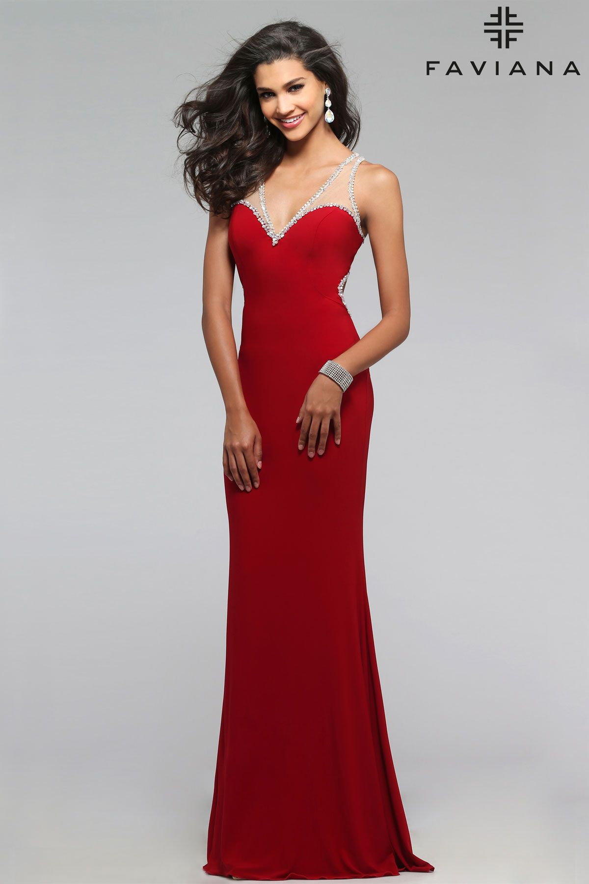 Which christmas gown ideas with holed - Jersey V Neck With Beaded Trim And Key Hole Back Faviana Style 7764