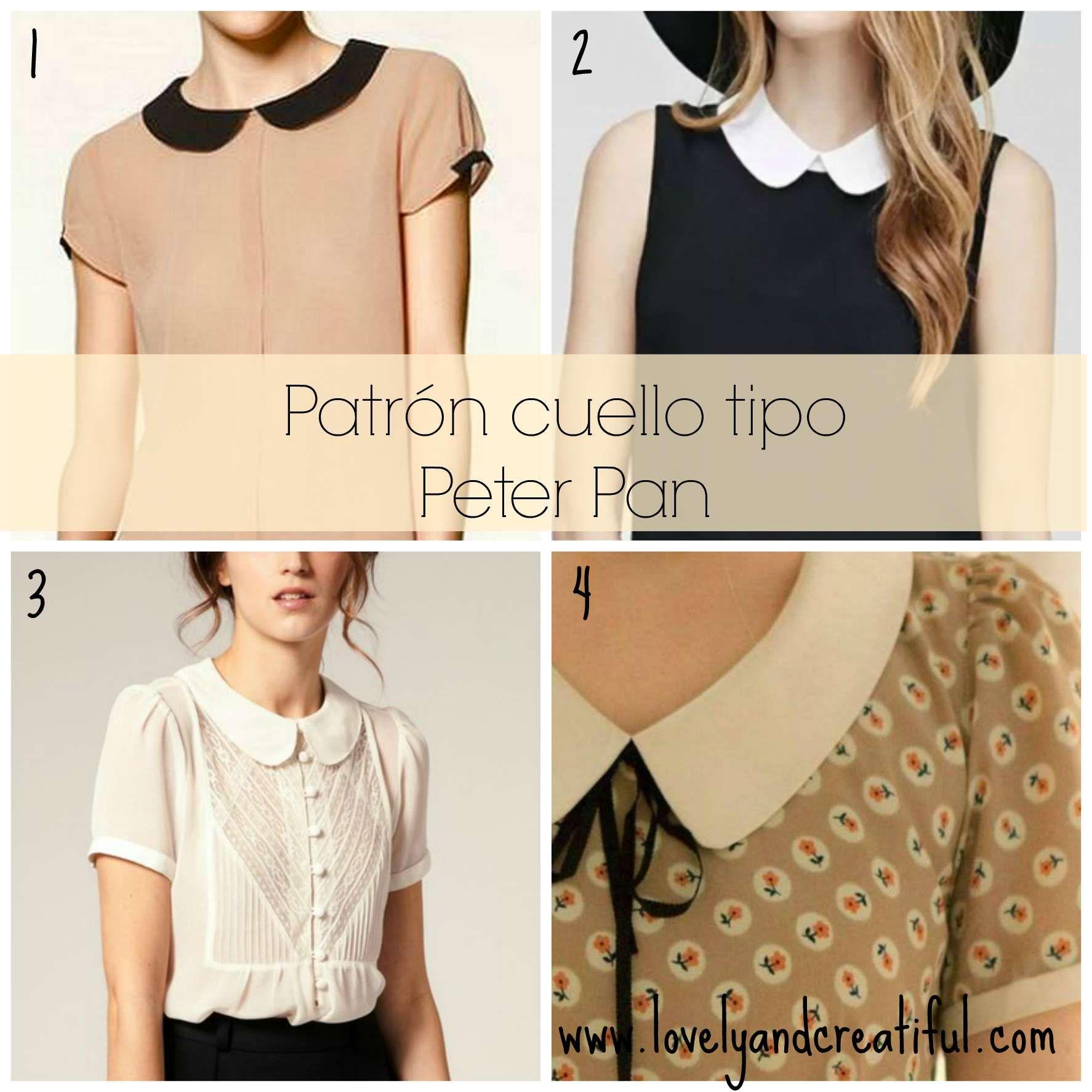 Cómo dibujar el patrón de cuello tipo Peter Pan o tipo bebé y cómo coser  este cuello en una blusa. 6b53cc2ffca44