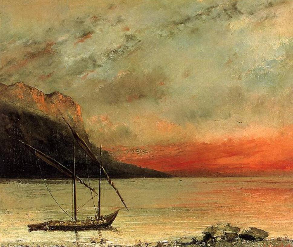 Gustave Courbet - Coucher de soleil sur le lac léman - Réalisme   Courbet, Lac leman, Coucher de ...