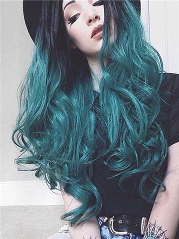 Long Black Root To Dark Green Wave Synthetic Lace Front Wig Hair Styles Cool Hair Color Long Hair Styles