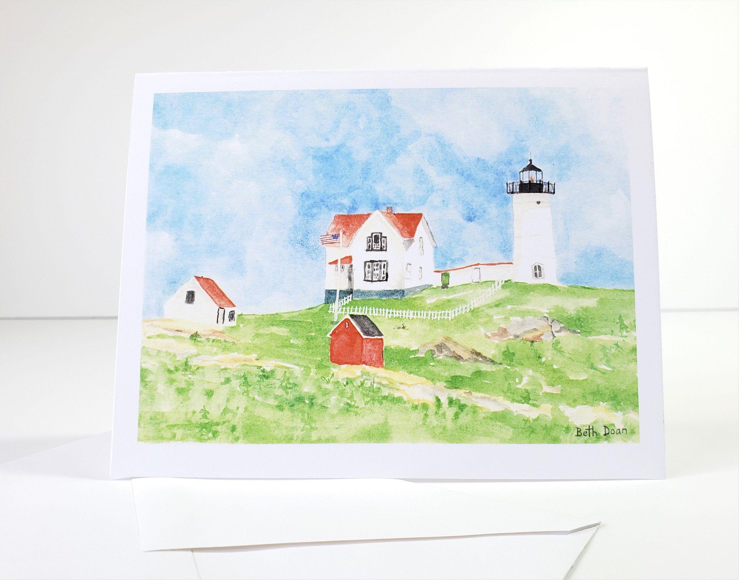 Nubble Lighthouse, York Maine,   4.25 x 5.5 Note Card & envelope, Maine Lighthouse