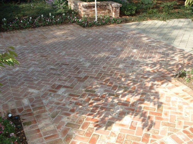 Brick Paved Patio Herringbone Pattern Brick Paving Brick