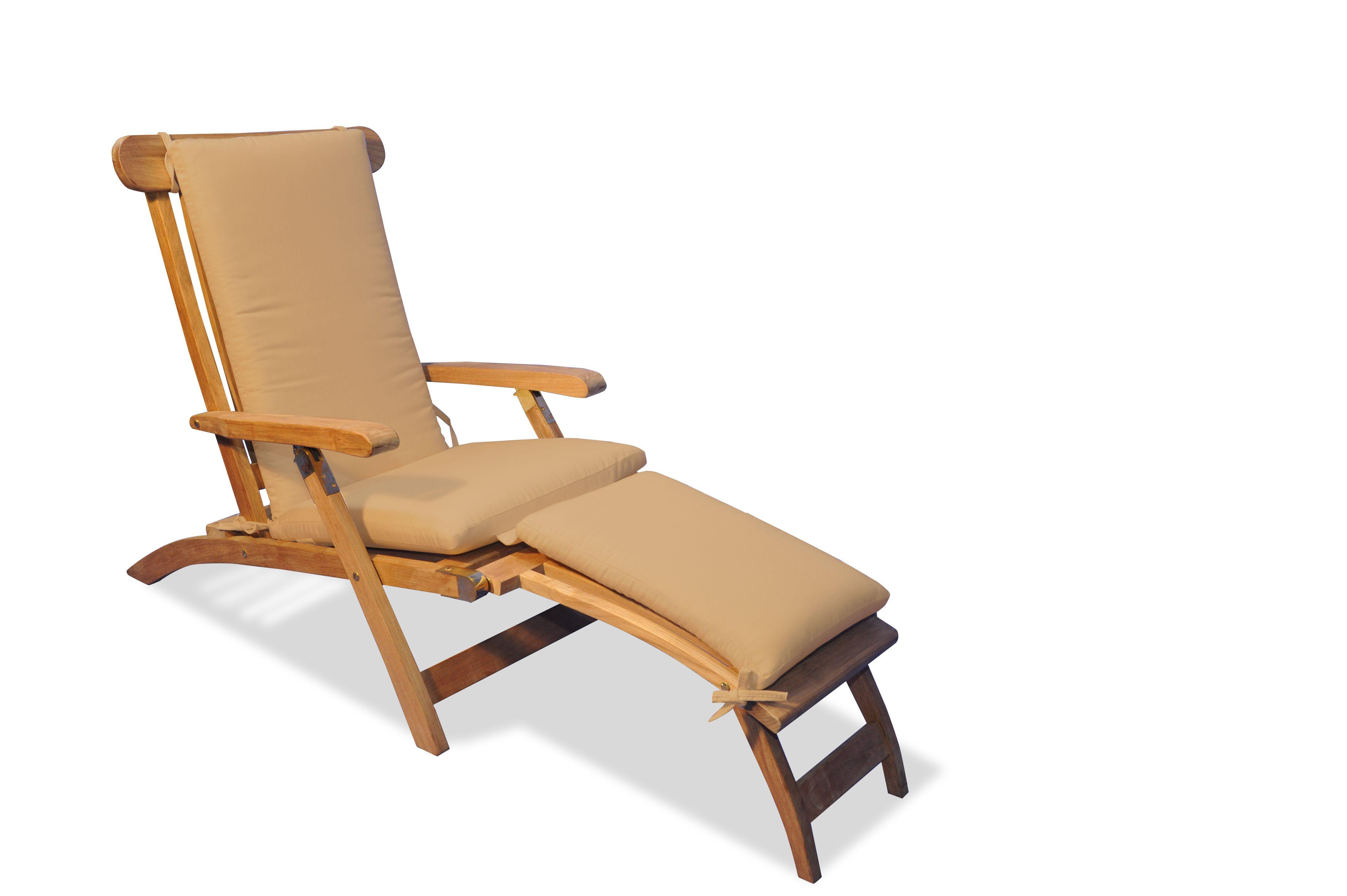 Teak Steamer Chair Adirondack Lounge Chaise And Cushion Set