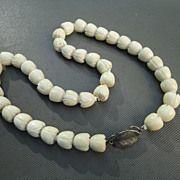 "Vintage Ming's Sterling Silver & Carved Ivory Pikake Blossom Necklace 18 1/2"""