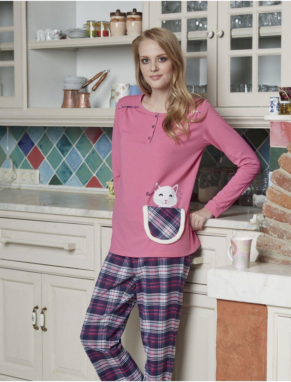 Ekoseli bayan kışlık pijama takımı. Pjs Bayan Pijama Takımı 1404. Orjinal  Pjs marka yeni