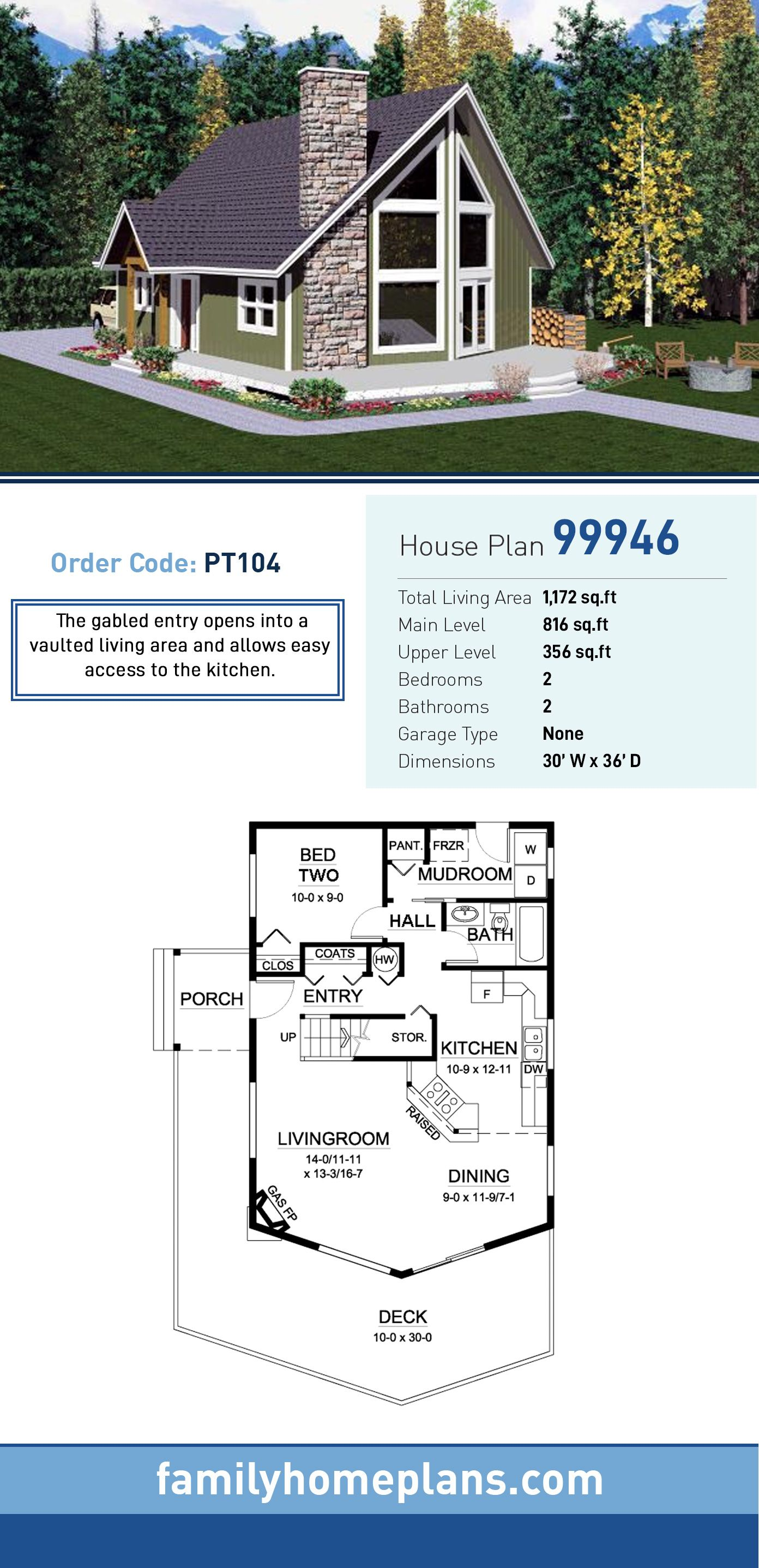Contemporary Style House Plan 99946 With 2 Bed 2 Bath A Frame House Plans Lake House Plans Family House Plans