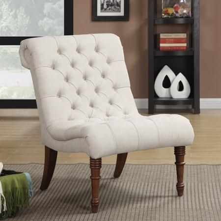 Traditional Oatmeal Slipper Chair Walmart Com Tufted Side Chair Upholstered Accent Chairs Accent Chairs
