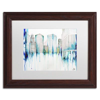 """Trademark Art 'Nightowl' by Marc Allante Matted Framed Painting Print Matte color: White, Size: 11"""" H x 14"""" W x 0.5"""" D"""