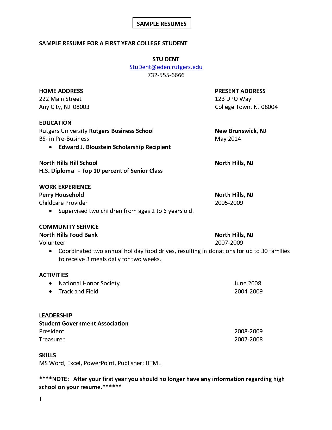 College Student Resume  Best Template Collection  resume